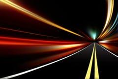 Abstrakte Nachtbeschleunigungs-Drehzahlbewegung Stockfoto
