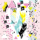 Abstrakte nahtlose chaotische Muster withs geometrische Element-Memphis-Karten Lizenzfreie Stockbilder