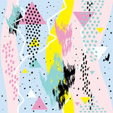Abstrakte nahtlose chaotische Muster withs geometrische Element-Memphis-Karten Lizenzfreies Stockfoto