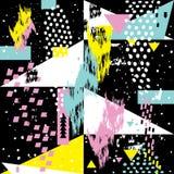 Abstrakte nahtlose chaotische Muster withs geometrische Element-Memphis-Karten Lizenzfreies Stockbild