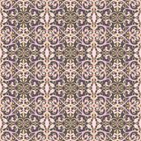 Abstrakte nahtlose Musterillustration von Spitzen- Blättern, mit Blumen und von Strudeln im geometrischen Plan stock abbildung