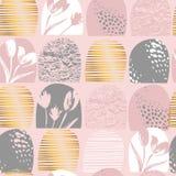 Abstrakte nahtlose Mustermit blumentulpen Modische Hand gezeichnete Beschaffenheiten Lizenzfreie Stockbilder