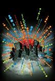 Abstrakte Neonnacht beleuchteter Stadthintergrund lizenzfreie abbildung