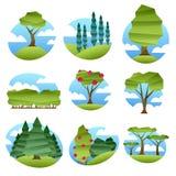 Abstrakte niedrige Polyartlandschaften mit den Bäumen eingestellt lizenzfreie abbildung