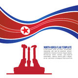 Abstrakte Nordkorea-Flaggenwelle und Nordkoreaner Workers'-Parteimonument Tempel Stockfotografie