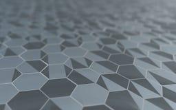 Abstrakte Oberfläche 3d mit Hexagonen Stockbild