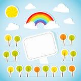 Abstrakte Papierfahne mit Wald und Regenbogen Stockbild