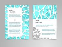 Abstrakte Polygon Broschüren-Fliegerdesign-Vektorschablone in der Größe A4 mit Grafiken des Papier-3D Stockfotos