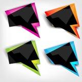 Abstrakte polygonale Sprachefahne mit schwarzer Farbe Stockbild