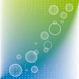 Abstrakte Punktkreise auf Hintergrund des blauen Grüns Stockfotos