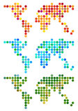 Abstrakte Punktweltkarte, Vektorsatz Lizenzfreies Stockbild