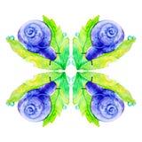 Abstrakte purpurrote Schnecke auf einem gro?en gr?nen Blatt Aquarellillustration lokalisiert auf wei?em Hintergrund Nahtloses Mus vektor abbildung