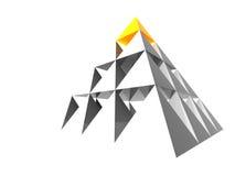 Abstrakte Pyramide mit Gelb Stockfotografie
