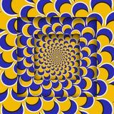 Abstrakte quadratische Rahmen mit einem beweglichen kreisförmigen gelben blauen sichelförmigen Muster Optische Illusion-Hintergru vektor abbildung
