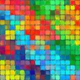 Abstrakte Regenbogenfarbfarbe deckt Musterkunsthintergrund mit Ziegeln Stockfotos