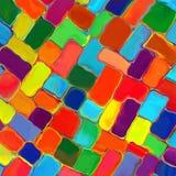 Abstrakte Regenbogenfarbfarbe deckt Musterkunsthintergrund mit Ziegeln Stockfotografie