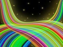 Abstrakte Regenbogenstreifen mit Sternhintergrund Stock Abbildung