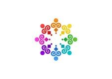 Abstrakte Regenbogenteamwork, soziales, Logo, Bildung, modernes Vektordesign einzigartigen Illustration Teams Stockbilder