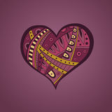 Abstrakte rosa gelbe Herzmusterillustration Stockbild