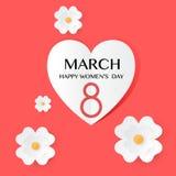 Abstrakte rote Blumengrußkarte - internationaler glücklicher Tag der Frauen-s - 8. März Feiertagshintergrund Stockfoto