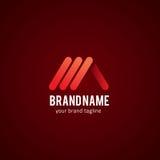 Abstrakte rote Linie Logo Design Template Lizenzfreies Stockbild
