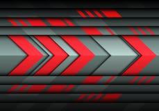 Abstrakte rote Pfeiltechnologiegeschwindigkeit auf modernem futuristischem Hintergrundvektor des grauen Metalldesigns Lizenzfreie Stockfotografie