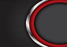 Abstrakte rote silberne Kurve mit grauer Leerstelle auf Hintergrund-Beschaffenheitsvektor des dunkelgrauen Hexagonmaschendesigns  vektor abbildung
