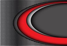 Abstrakte rote weiße Kurve auf modernem futuristischem Hintergrundvektor des grauen Kreismaschendesigns Lizenzfreie Stockfotos