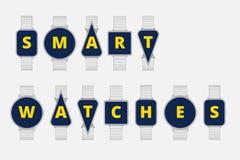 Abstrakte runde intelligente Uhr mit Buchstaben Stockfotografie