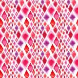Abstrakte schöne wunderbare transparente helle rote rosa verschiedene Formrauten stellen Musteraquarell-Handillustration dar stock abbildung