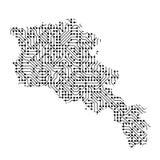 Abstrakte schematische Karte von Armenien vom Schwarzen druckte Brett, Stockfotografie