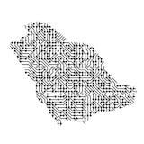 Abstrakte schematische Karte von Saudi-Arabien vom Schwarzen druckte BO Lizenzfreies Stockfoto