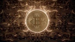Abstrakte Schleife bitcoin Welt in den Stromkreisen stock footage