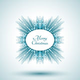 Abstrakte Schneeflocke mit Zeichen der frohen Weihnachten Stockfoto