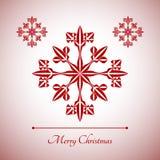 Abstrakte Schneeflocke mit Zeichen der frohen Weihnachten Lizenzfreie Stockfotografie
