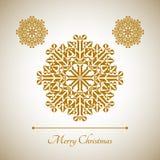 Abstrakte Schneeflocke mit Zeichen der frohen Weihnachten Lizenzfreies Stockfoto