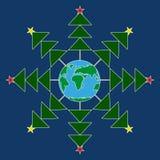 Abstrakte Schneeflocken-Weihnachtsbäume um die Erde planet Dunkelblauer Hintergrund Lizenzfreie Stockfotos