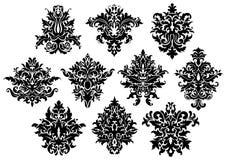 Abstrakte schwarze Blumen eingestellt Stockfotografie