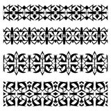 Abstrakte schwarze geometrische nahtlose Grenzen eingestellt Lizenzfreie Stockfotos
