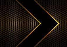Abstrakte schwarze Pfeilgoldlinie Richtung auf modernem futuristischem Hintergrundvektor des Metallhexagonmaschenmusterentwurfs lizenzfreie abbildung
