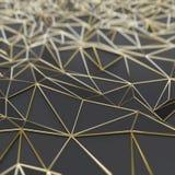Abstrakte schwarze Polygone mit Goldrahmen vektor abbildung
