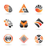 Abstrakte schwarze und orange Ikone stellte 23 ein Stockfoto