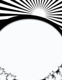 Abstrakte Schwarzweiss-Sonnenaufgang-leere Karten-Auslegung Stockfoto