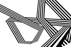 Abstrakte Schwarzweiss-Streifen verbogen geometrische Form des Bandes Lizenzfreie Stockbilder
