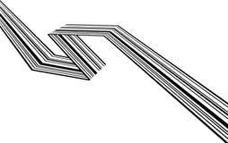 Abstrakte Schwarzweiss-Streifen verbogen geometrische Form des Bandes stockfotos