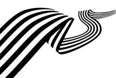 Abstrakte Schwarzweiss-Streifen verbogen glatt Band geometrica stockfoto