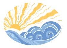 Abstrakte Seewellen. Vektor lizenzfreie abbildung