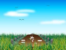 Abstrakte Sitzung auf Gras stock abbildung