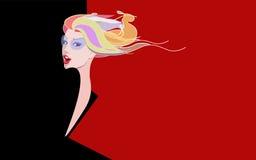 Abstrakte Skizze eines Mädchenmodells im Kleid Stockfotografie
