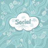 Abstrakte Sozialwolke in der Gekritzelart auf blauem Hintergrund Stockfoto